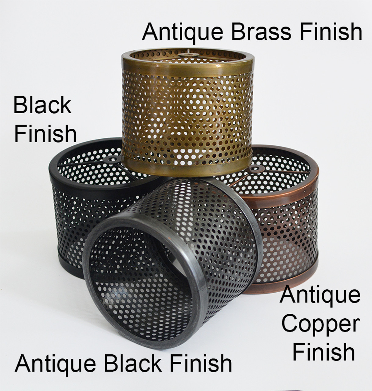 6 Perforated Metal Shade Antique Brass Finish