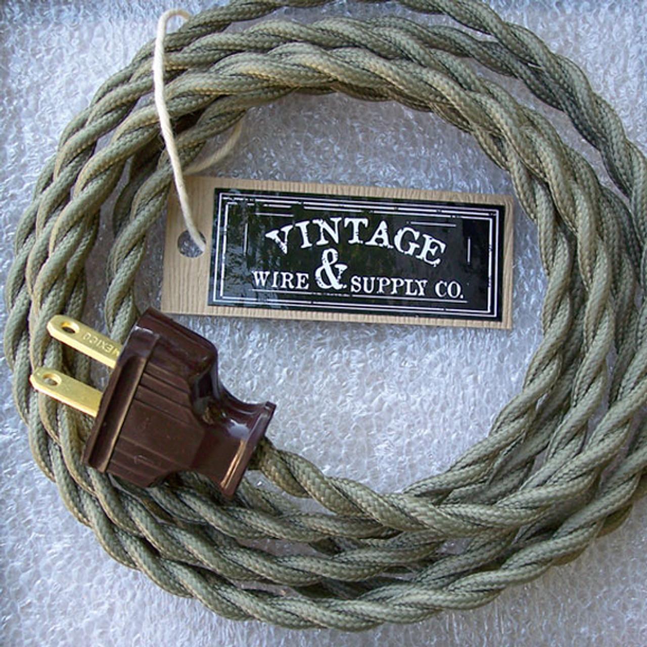 Dark Brown Cloth Covered Wire Vintage Rewire Kit Lamp Cord Fan Antique Restore