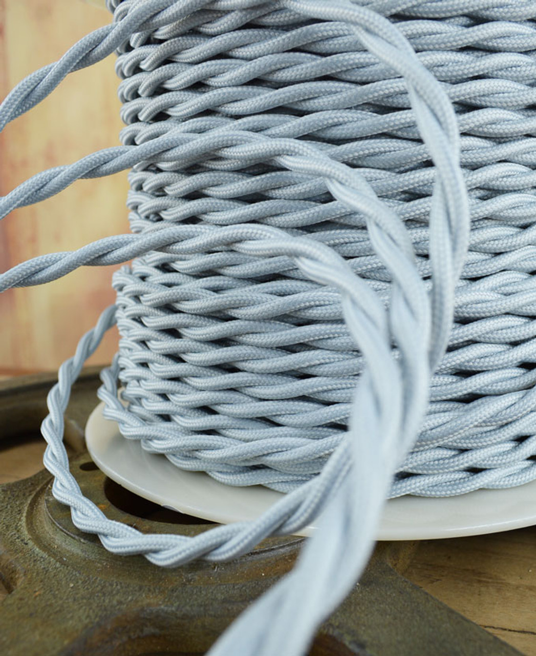 Silver Gray Cloth Covered Wire