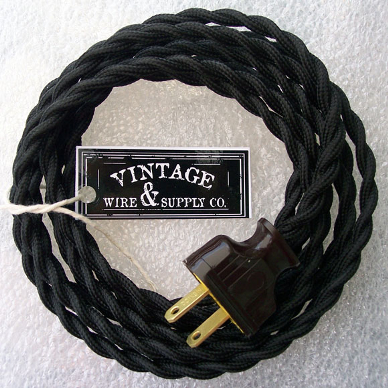 3 Conductor Antique Style Cloth Wire Vintage Lights Black Cloth Covered Cord