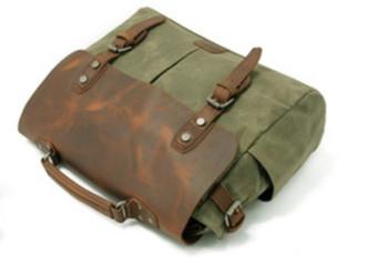 Vintage Messenger Bag - Olive Green