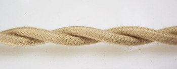 Tan Cotton Cloth-Covered Twisted Electrical Wire - 18 Gauge - Bulk Roll