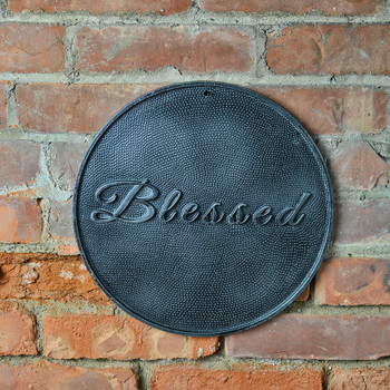 Plaque - Round Cast Metal - Blessed