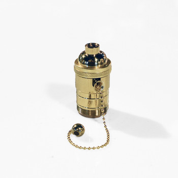 Polished Brass Pull-chain socket