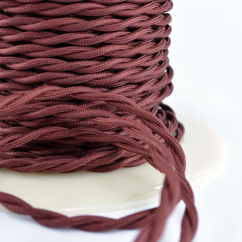 Burnt Copper Cloth-Covered Twisted Electrical Wire - 18 Gauge - Bulk Roll