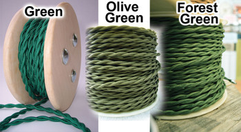Forest Green Cloth-Covered Twisted Electrical Wire - 18 Gauge - Bulk Roll