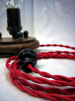 Red Rayon Cloth-Covered Twisted Electrical Wire - 18 Gauge - Bulk Roll