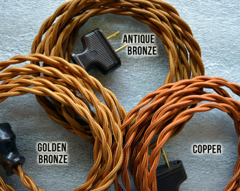 Golden Bronze Rayon Cloth-Covered Twisted Electrical Wire - 18 Gauge - Bulk Roll