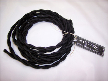 Black Cloth Covered Wire 18 gauge