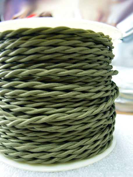 Olive Green Cloth-Covered Twisted Electrical Wire - 18 Gauge - Bulk Roll