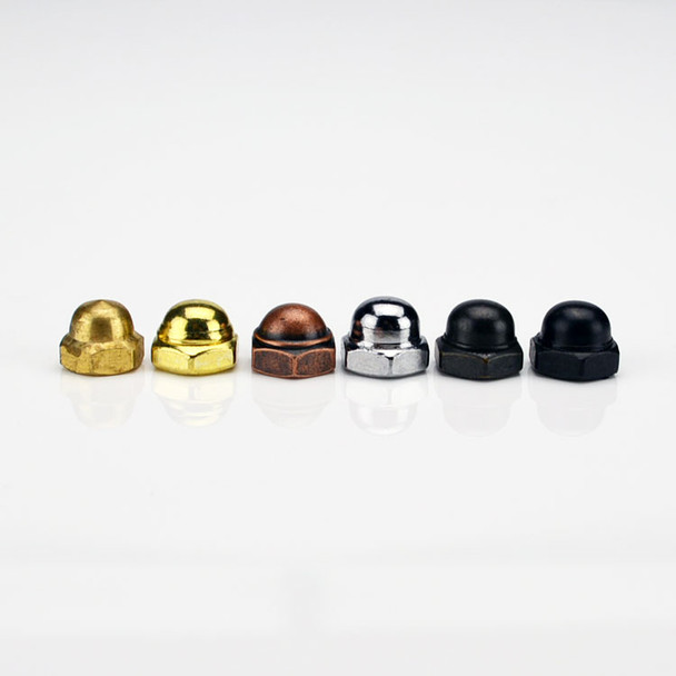 Cap Nut - Polished Brass Finish - Threaded 8-32