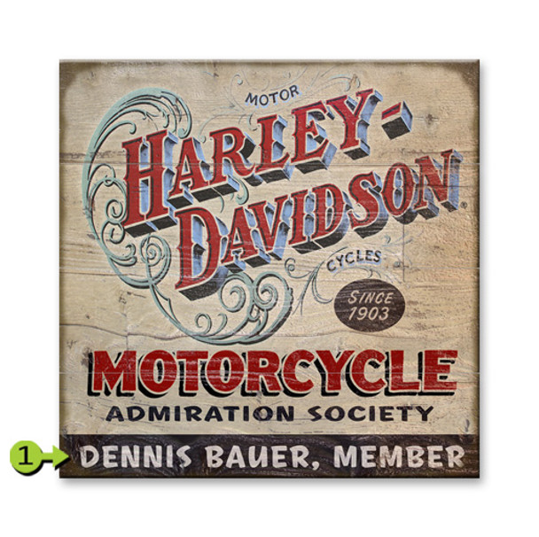 Harley Davidson Personalized Wood Sign - Admiration Society