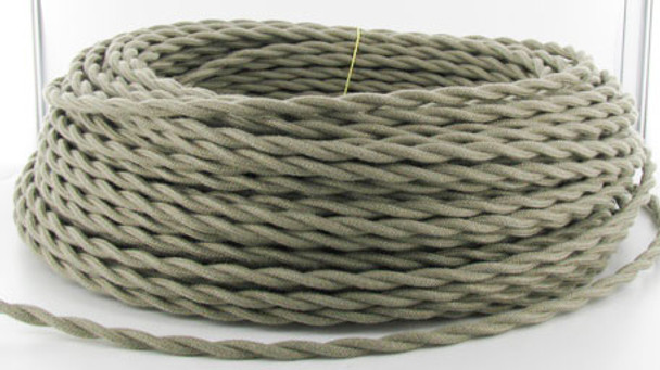 Gray Cloth-Covered Electrical Wire
