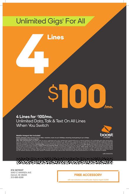 Boost Mobile 4 Lines for $100