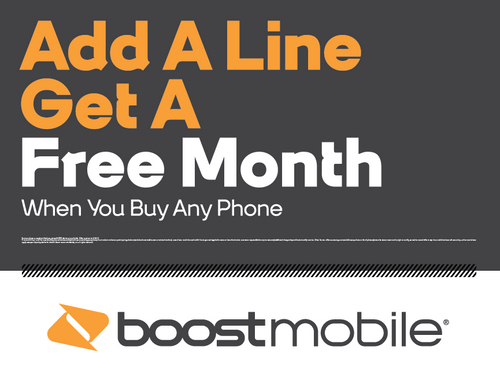 Boost Mobile add a Line Get a FREE Month