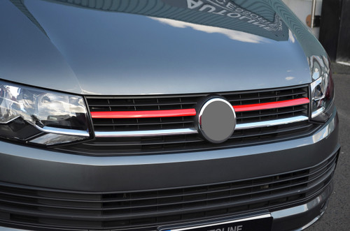 2Pc Upper Red Grille Accent Trim Set To Fit Volkswagen T6 Transporter (16+)