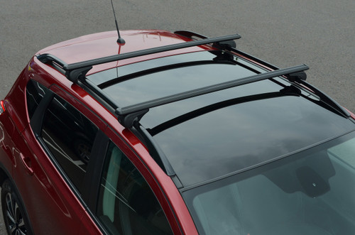 Black Cross Bars For Roof Rails To Fit Porsche Cayenne (2012+) 100KG Lockable