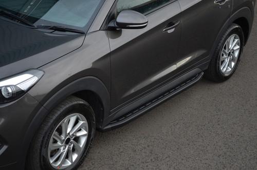 Black Aluminium Side Steps Bars Running Boards To Fit Hyundai Tucson (2015+)