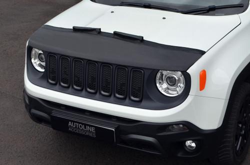 Black Front Bonnet Bra / Protector Half Version To Fit Jeep Renegade (2015+)