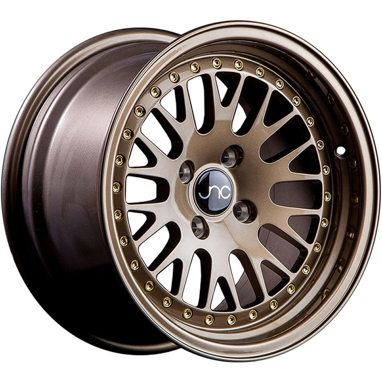 JNC Wheels 15 JNC001 Matte Black w// Gold Rivet Rim 4x100-15x8 inch