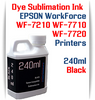 Black 240ml bottle Dye Sublimation Ink  Epson WorkForce WF-7210, WorkForce WF-7710, WorkForce WF-7720 printers