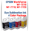4- 500ml bottles Dye Sublimation Ink Package   Included Colors: Black, Cyan, Magenta, Yellow  Epson WorkForce WF-7210, WorkForce WF-7710, WorkForce WF-7720 printers