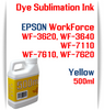 Yellow 500ml bottles Dye Sublimation Ink Package  Epson WorkForce WF-3620, WorkForce WF-3640, WorkForce WF-7110, WorkForce WF-7610, WorkForce WF-7620 Printers