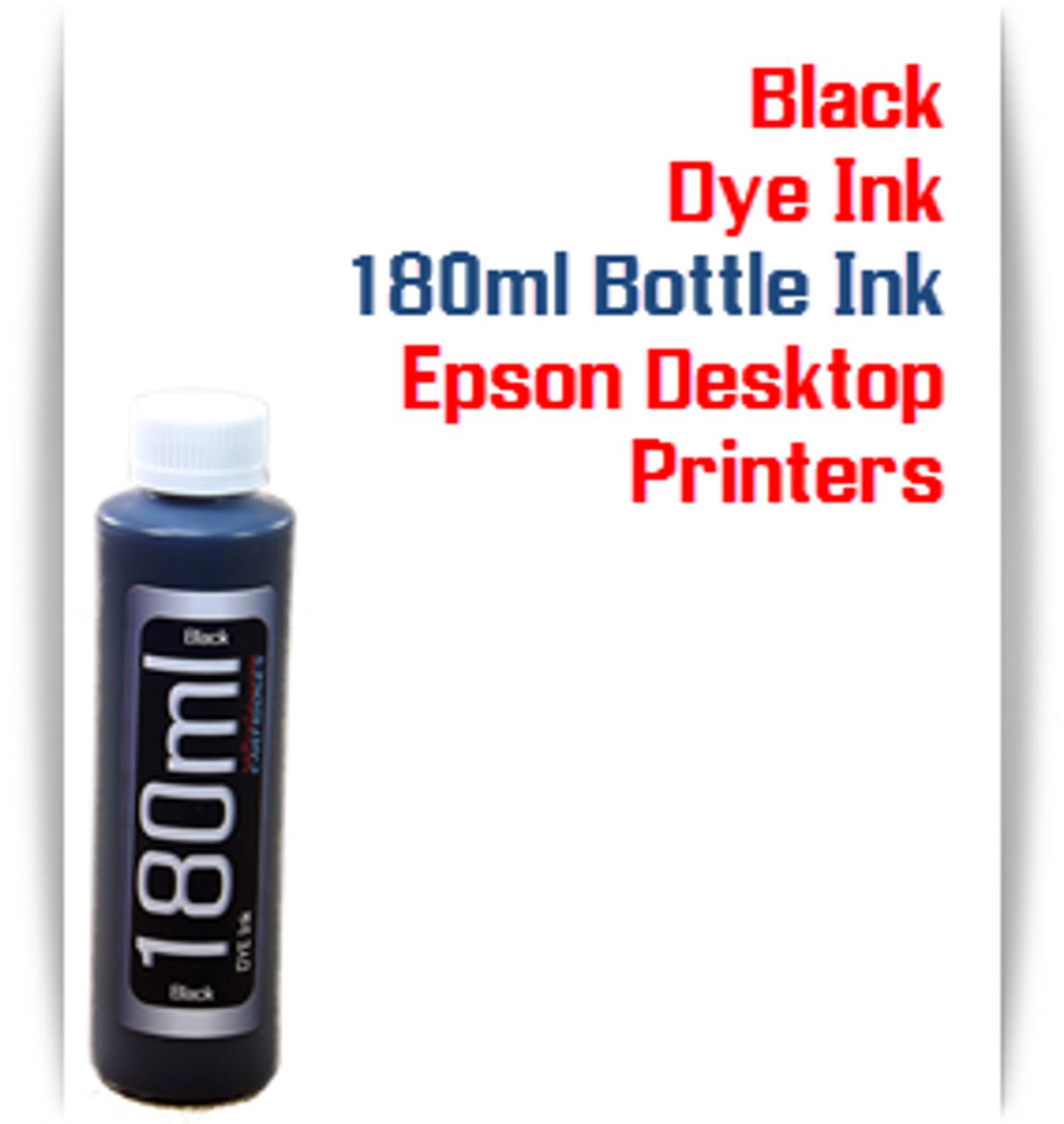 Black 180ml Bottle Dye Ink for Epson Small all in one Desktop Printers