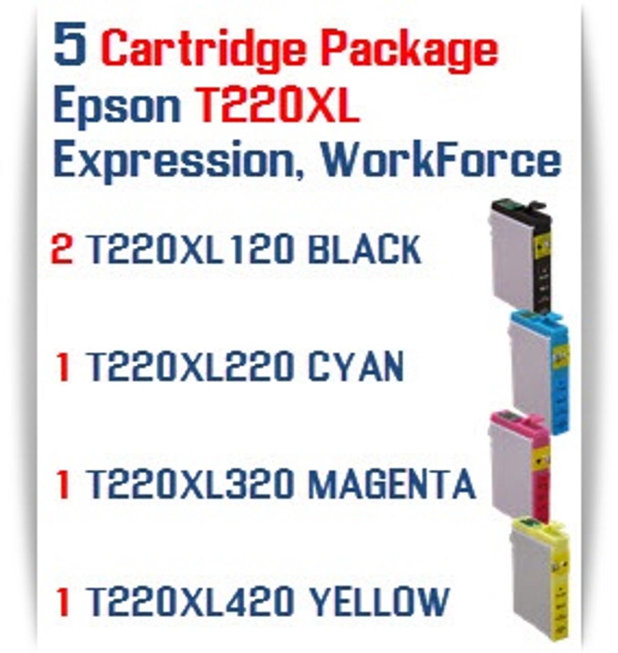 5 T220XL Cartridge Package  Epson Expression XP, WorkForce WF Compatible Ink Cartridges 2- T220XL120  Black, 1- T220XL220 Cyan, 1- T220XL320 Magenta, 1- T220XL420 Yellow