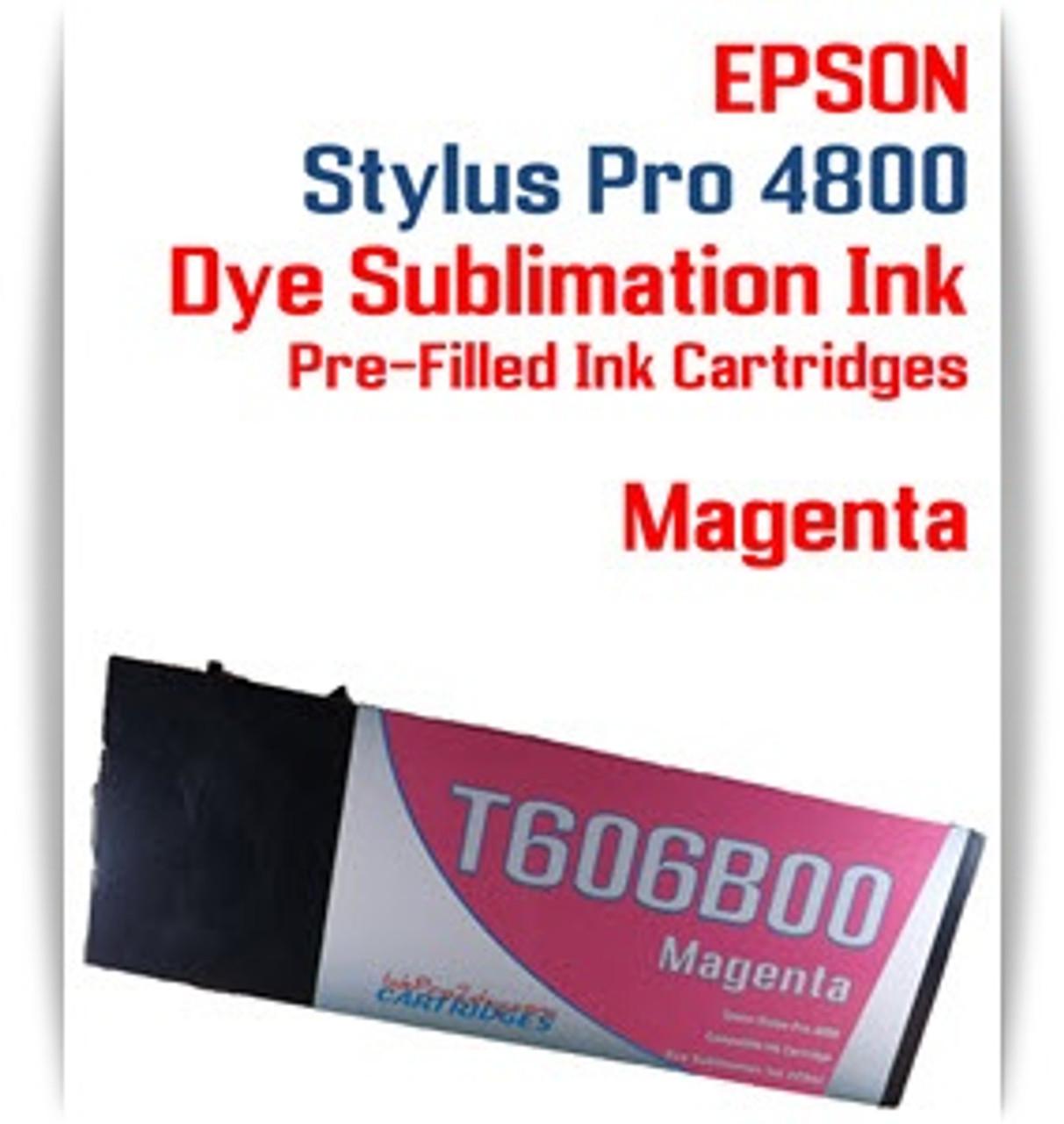 Magenta Epson Stylus Pro 4800 Dye Sublimation Ink Cartridges 220ml