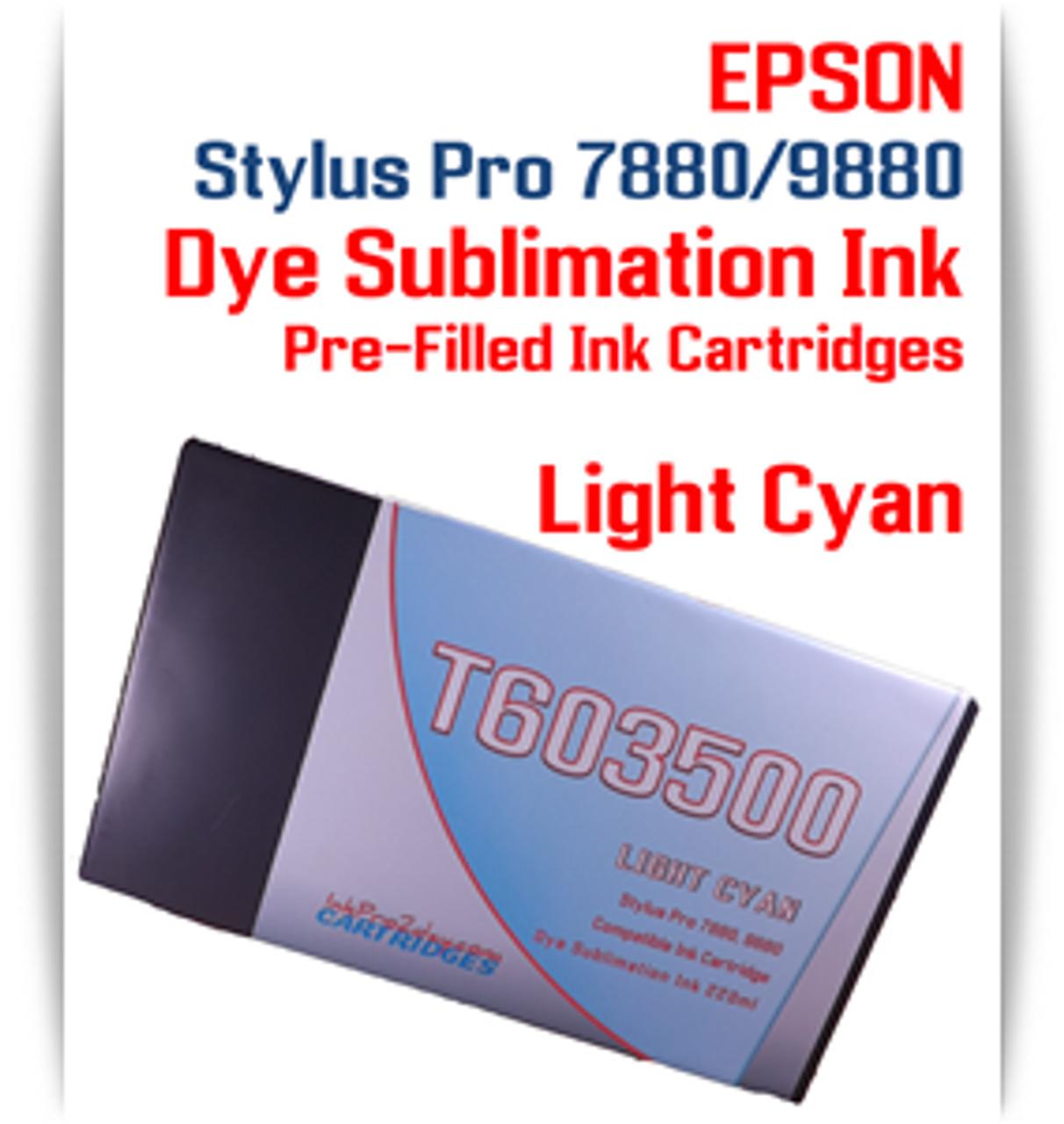Light Cyan Epson Stylus Pro 7880/9880 Pre-Filled with Dye Sublimation Ink Cartridge 220ml