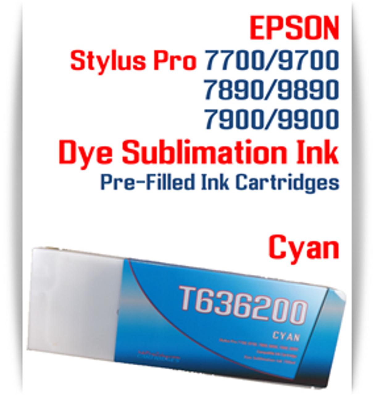 Cyan Epson Stylus Pro 7890/9890 Pre-Filled Dye Sublimation Ink Cartridge