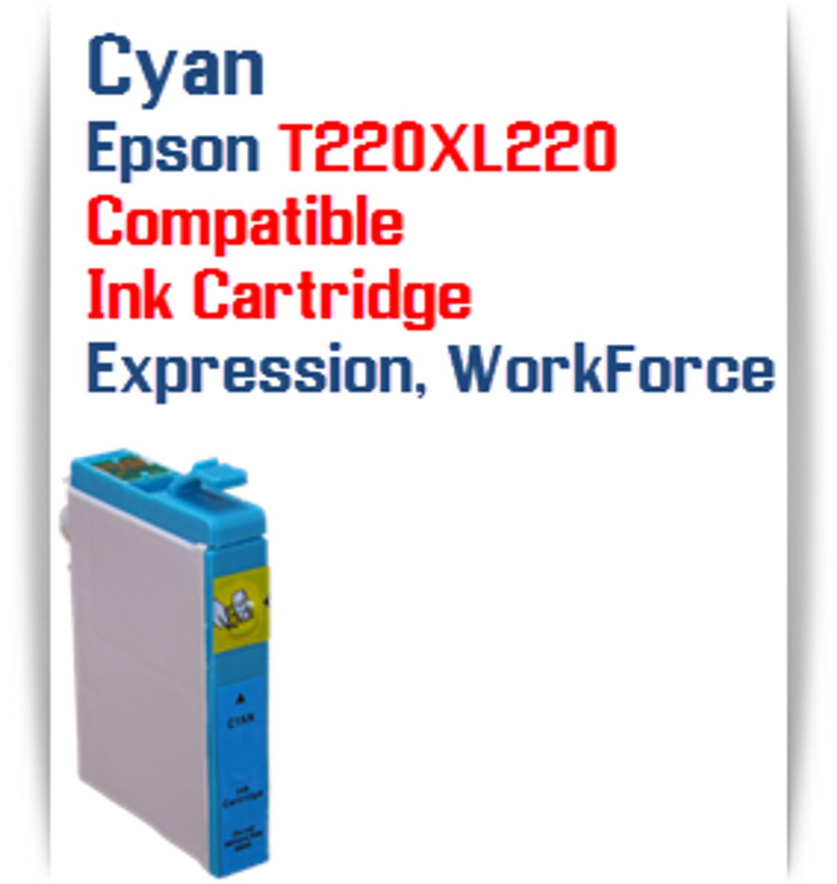 Cyan T220XL220 Epson Expression XP, WorkForce WF Compatible Printer Ink Cartridge  Epson Expression XP-320 Epson Expression XP-420 Epson Expression XP-424  Epson WorkForce WF-2630 Epson WorkForce WF-2650 Epson WorkForce WF-2660 Epson WorkForce WF-2750 Epson WorkForce WF-2760