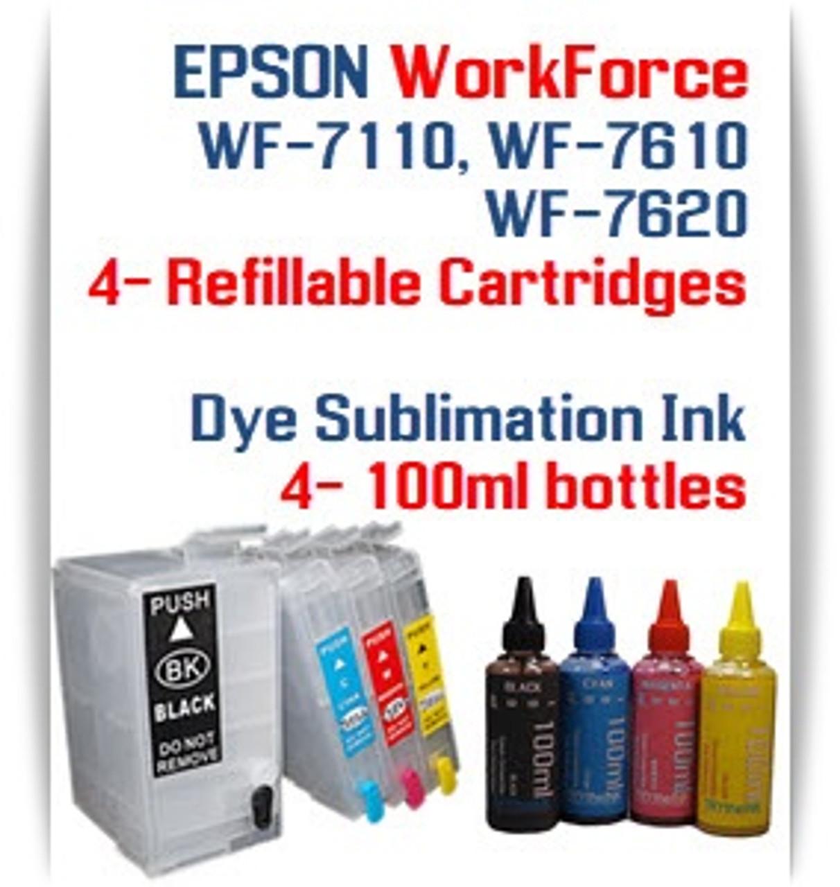 4 Refillable Ink Cartridges (empty) 4 100ml Dye Sublimation Ink Package Epson WorkForce WF-7110, WF-7610, WF-7620 printers