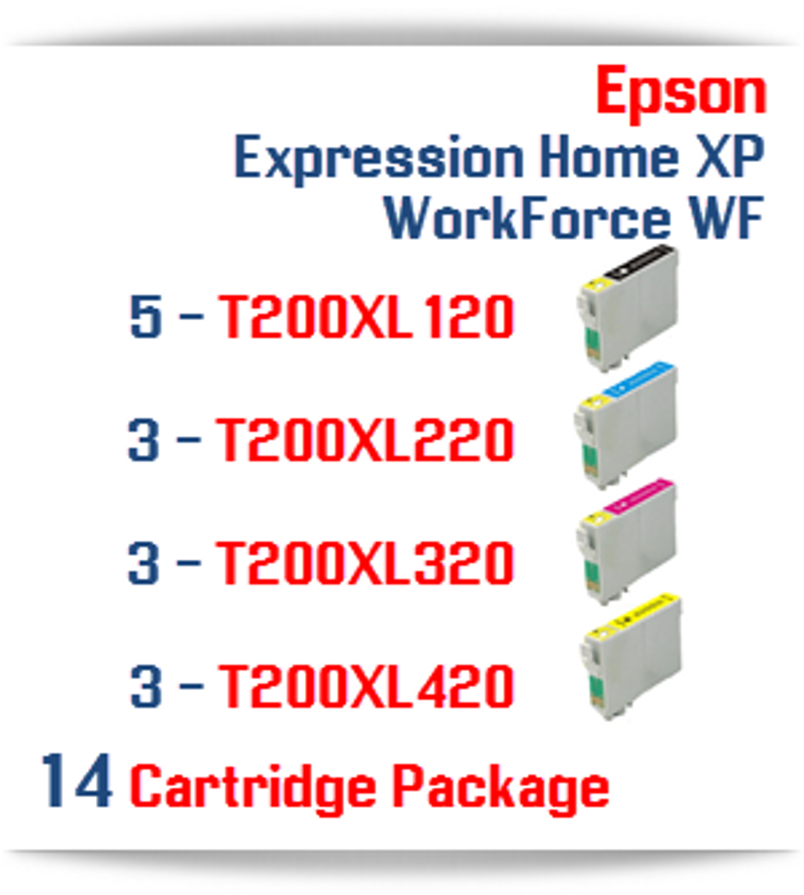 14 Cartridge Package - Cartridges Included: 5 Black, 3 Cyan, 3 Magenta, 3 Yellow Epson Expression Home XP,  WorkForce WF Compatible Ink Cartridges