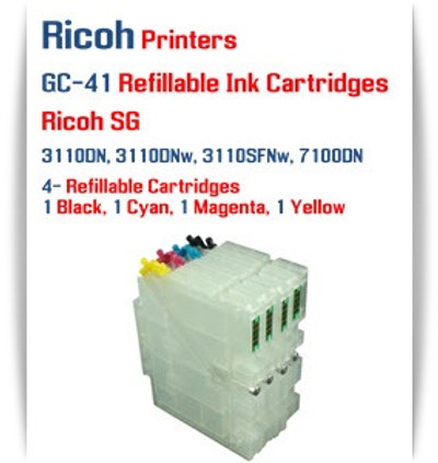 RICOH GC-41 - 4 Color Refillable Ink Cartridges with Auto Reset Chips
