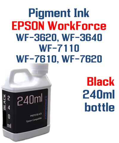 Black Pigment ink 240ml bottle Epson WF-3640 WF-7110 WF-7610 WF-7620 printers