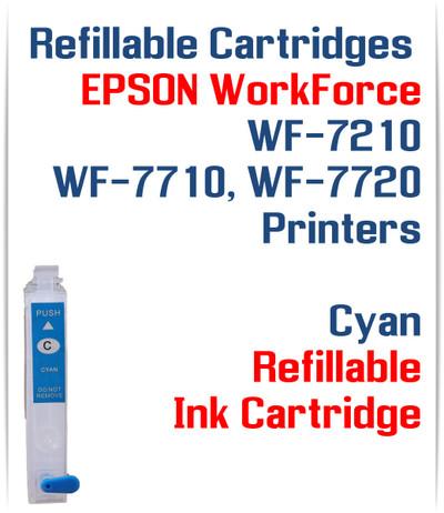 Cyan Refillable Ink Cartridge (empty) Epson WorkForce WF-7210, WorkForce WF-7710, WorkForce WF-7720 Printers