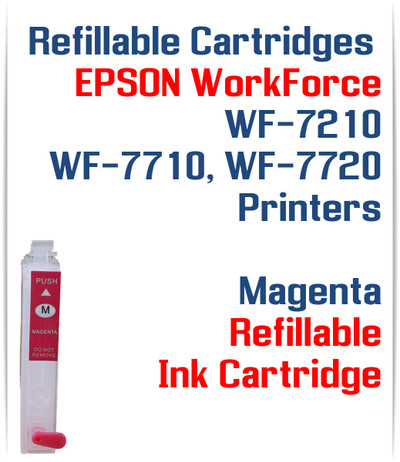 Magenta Refillable Ink Cartridge (empty) Epson WorkForce WF-7210, WorkForce WF-7710, WorkForce WF-7720 Printers