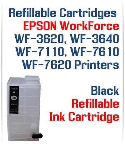 Black XL Refillable Ink Cartridge (empty) Epson WorkForce WF-3640 WF-7110, WF-7610, WF-7620 Printers