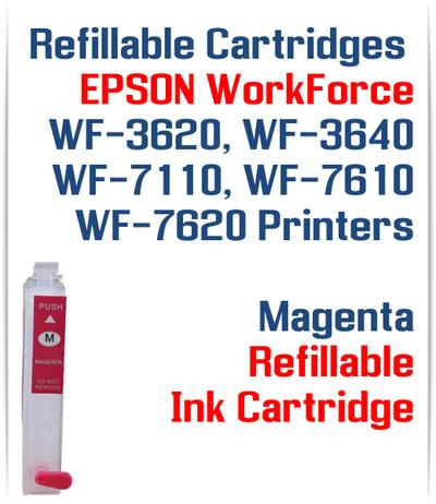 Magenta Refillable Ink Cartridge (empty) Epson WorkForce WF-3640 WF-7110, WF-7610, WF-7620 Printers