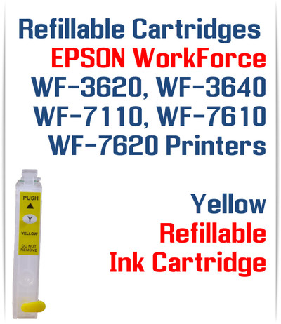 Yellow Refillable Ink Cartridge (empty) Epson WorkForce WF-3640 WF-7110, WF-7610, WF-7620 Printers