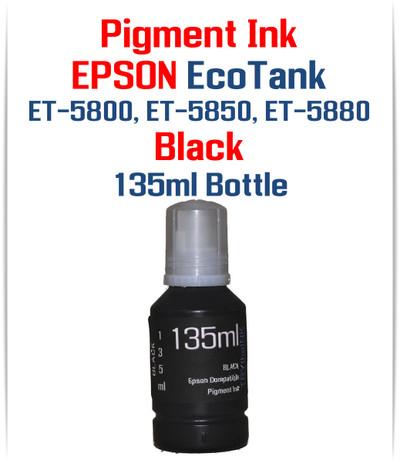 Black Pigment ink 135ml bottle EPSON EcoTank ET-5800 ET-5850 ET-5880 printers