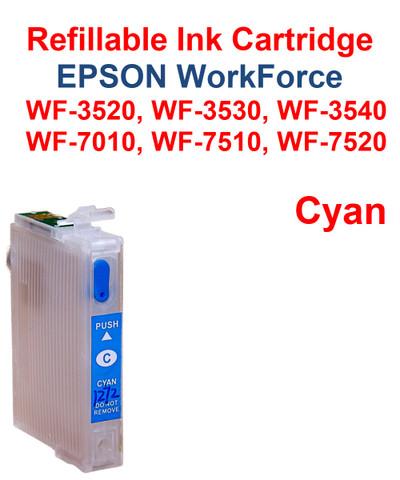 Cyan Refillable Cartridge Epson WorkForce WF-3530,  WF-3540, WF-7010, WF-7510, WF-7520 printers