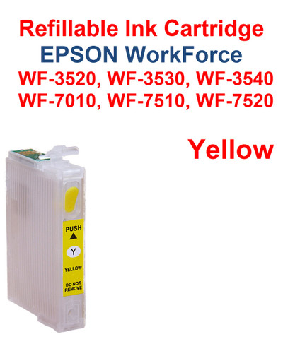Yellow Refillable Cartridge Epson WorkForce WF-3530,  WF-3540, WF-7010, WF-7510, WF-7520 printers