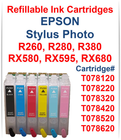6- Refillable Ink Cartridges for Epson Stylus Photo R260 R280 R380 RX580 RX595 RX680 printers Cartridges Compatible: T078120 Black, T078220 Cyan, T078320 Magenta, T078420 Yellow, T078520 Light Cyan, T078620 Light Magenta