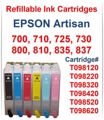 6- Refillable Ink Cartridges for Epson Artisan 700 710 725 730 800 810 835 837 printers Cartridges included: Black, Cyan, Magenta, Yellow, Light Cyan, Light Magenta