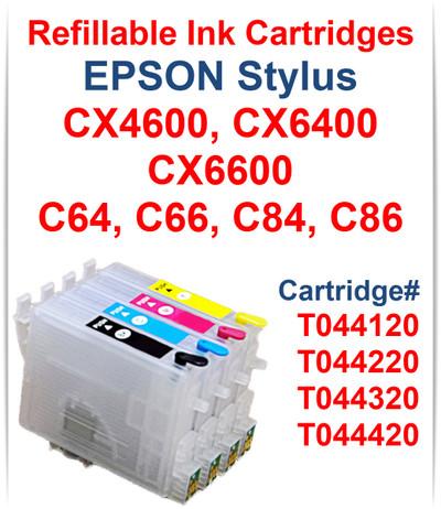 4- Refillable Ink Cartridges for Epson Stylus C64 C66 C84 C86 printers T044120 Black, T044220 Cyan, T044320 Magenta, T044420 Yellow