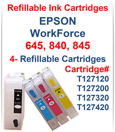 4 Refillable Ink Cartridges with auto reset chip for EPSON WorkForce 645 840 845 Printers