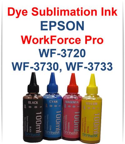 4- 100ml bottles Dye Sublimation Ink for Epson WorkForce Pro WF-3720 WF-3730 WF-3733 Printers